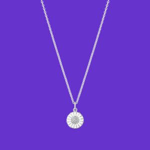 Georg Jensen Daisy Pendant Small Rhodium Sterling Silver Diamonds