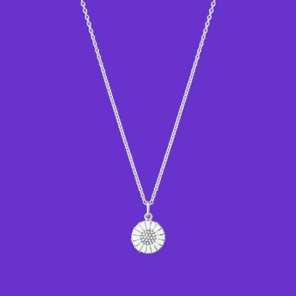 Georg Jensen Daisy Pendant Small Rhodium Sterling Silver Diamonds