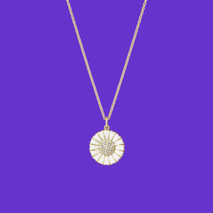 Georg Jensen Daisy Pendant Large Diamonds Gold Plated Sterling Silver