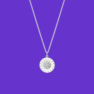 Georg Jensen Daisy Pendant Large Rhodium Sterling Silver Diamonds