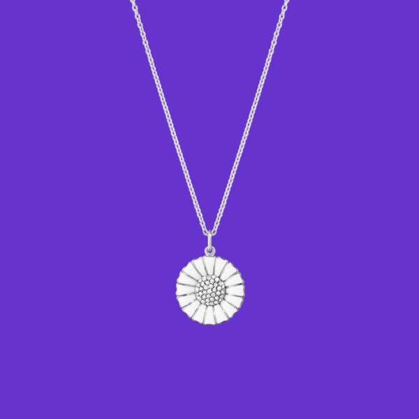 Georg Jensen Daisy Pendant Large Rhodium Sterling Silver Diamonds