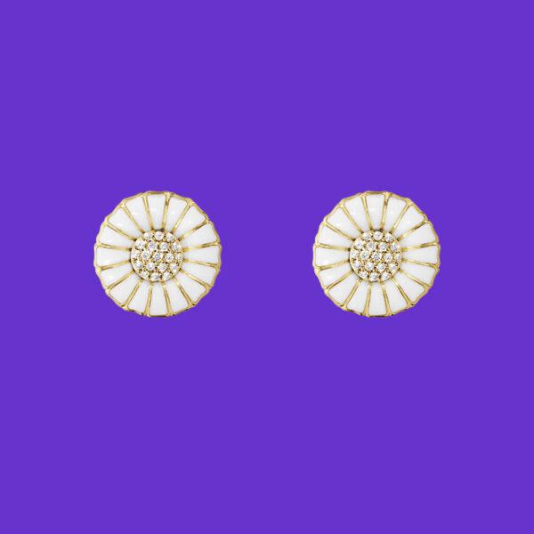 Georg Jensen Daisy Earrings Gold Plated Sterling Silver Diamonds